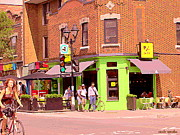 Cafes Paintings - Pizzadelic Sidewalk Cafe Terrace Sunny Day Biking In The Latin Quarter Montreal City Scene C Spandau by Carole Spandau