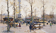 Tram Painting Framed Prints - Place de la Bastille Paris Framed Print by Eugene Galien-Laloue