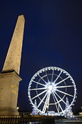 Place De La Concorde Posters - Place de la Concorde and the ferris wheel at Christmas time Poster by Sami Sarkis