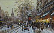 Snowy Roads Painting Prints - Place de la Republique Paris Print by Eugene Galien-Laloue