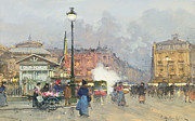 City Streets Framed Prints - Place de lOpera Paris Framed Print by Eugene Galien-Laloue