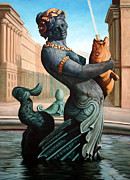 Mermaid Sculpture Posters - Place du la Concorde Poster by Kathleen English-Barrett