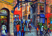 People Pastels Framed Prints - Place Du Petit College In Lyon Framed Print by EMONA Art