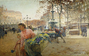 Streetlight Framed Prints - Place du Theatre Francais Paris Framed Print by Eugene Galien-Laloue