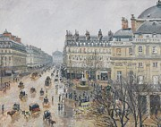 Gray Building Framed Prints - Place du Theatre Francais    Paris  Rain Framed Print by Camille Pissarro