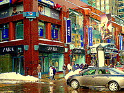 Winter Scenes Paintings - Place Montreal Trust Rue St Catherine Boutiques Zara Winners Mexx Indigo Cafe Winter Scene Cspandau by Carole Spandau