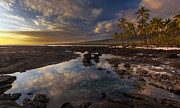 Oahu Photos - Place of Refuge Sunset Reflection by Mike Reid