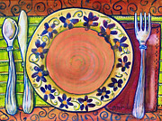 Plate Paintings - Place Setting Art  by Blenda Studio