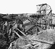 Gold Mining Photos - PLACER GOLD MINING c. 1866 by Daniel Hagerman