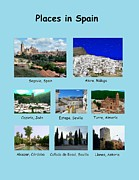 Locations Painting Prints - Places in Spain on Blue Print by Bruce Nutting