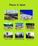 Locations Painting Prints - Places in Spain on Green Print by Bruce Nutting