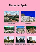 Locations Painting Prints - Places in Spain on Pink Print by Bruce Nutting