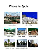 Locations Painting Prints - Places in Spain on White Print by Bruce Nutting