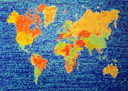 Map Of The World Painting Posters - Places Poster by Susan Waitkuweit