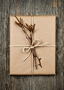 Twine Framed Prints - Plain gift with natural decorations Framed Print by Elena Elisseeva