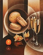 Champagne Painting Originals - Plaisirs gourmands by Frank Godille