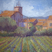 St.tropez Paintings - Plan de la Tour Village by Linda  Wissler