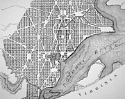 River Drawings Metal Prints - Plan of the City of Washington as originally laid out in 1793 Metal Print by American School