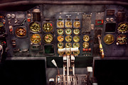 Antique Airplane Prints - Plane - Cockpit - Boeing 727 - The controls are set Print by Mike Savad