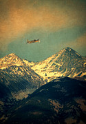 High Altitude Flying Art - Plane Flying Over Mountains by Jill Battaglia
