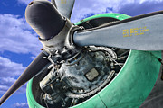 Airplane Props Framed Prints - Plane Green Prop Framed Print by Paul Ward