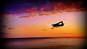 Jsm Fine Arts Framed Prints - Plane Pass at Sunset Framed Print by John Malone