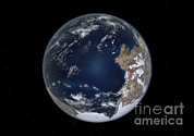 Merging Digital Art Prints - Planet Earth 600 Million Years Ago Print by Walter Myers