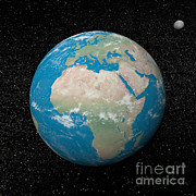Planet Map Digital Art Prints - Planet Earth And Moon Surrounded Print by Elena Duvernay