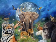 Chimpanzee Art - Planet Earth by David Stribbling