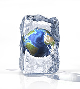 Global Warming Digital Art - Planet Earth Frozen Inside Of An Ice by Leonello Calvetti