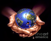 Hands Of Love Posters - Planet Earth On Human Hands, Breaking Poster by Leonello Calvetti