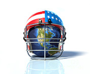 Football Safety Posters - Planet Earth Protected By An American Poster by Leonello Calvetti