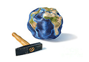Abstract Map Prints - Planet Earth Smashed By A Hammer Print by Leonello Calvetti