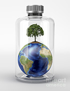 Global Warming Digital Art - Planet Earth With A Tree On Top by Leonello Calvetti