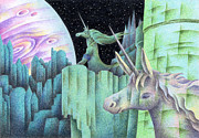 Satellite Drawings - Planet of the Unicorn by T Koni