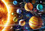 Children Digital Art Metal Prints - Planetary System Metal Print by Adrian Chesterman