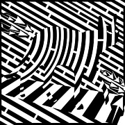 Op Art Digital Art Posters - Plank Walking Cat Maze Poster by Yonatan Frimer Maze Artist