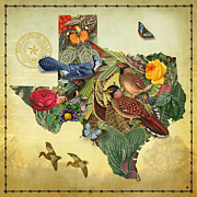 World Map Digital Art Metal Prints - Plant Map of Texas Metal Print by Gary Grayson