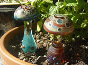 One Of A Kind Glass Art - Planter Mushrooms by Daniel Wallace by Jubilant Glass And Art
