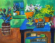 Shed Painting Posters - Plants in Potting Shed Poster by Betty Pieper