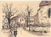 Sepia Ink Drawings - Planty Cracow by Monika Golebiowska