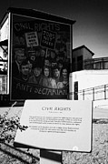 Irish Artists Framed Prints - plaque and Civil Rights The Beginning mural as part of the peoples gallery murals in Rossville Street of the bogside area of Derry Londonderry Northern Ireland Framed Print by Joe Fox