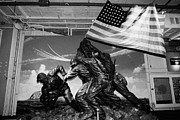 Manhatten Prints - Plaster Iwo Jima memorial statue sculpture in Stern Hall on the Hangar deck at the Intrepid Sea Air  Print by Joe Fox