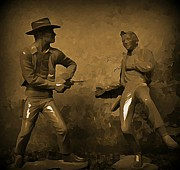 Western Art Digital Art Framed Prints - Plastic Gunfighters Framed Print by Hohn Malone