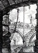 Below Framed Prints - Plate 4 from the Carceri series Framed Print by Giovanni Battista Piranesi