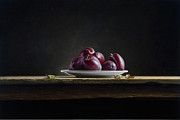 Photorealistic Prints - Plate with Plums Print by Mark Van crombrugge