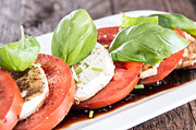 Balsamic Vinegar Photo Posters - Plate with Tomato and Mozzarella Poster by HandmadePictures