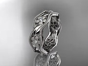 Engagement Jewelry Originals - Platinum Diamond Flower Wedding Ring Engagement Ring Wedding Band by Anjays Designs