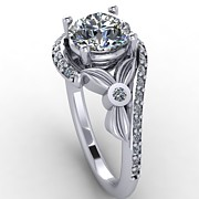 Platinum Jewelry - Platinum Diamond Ring with Moissanite Center Stone by Eternity Collection