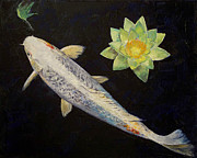 Asian Artist Posters - Platinum Ogon Koi Poster by Michael Creese